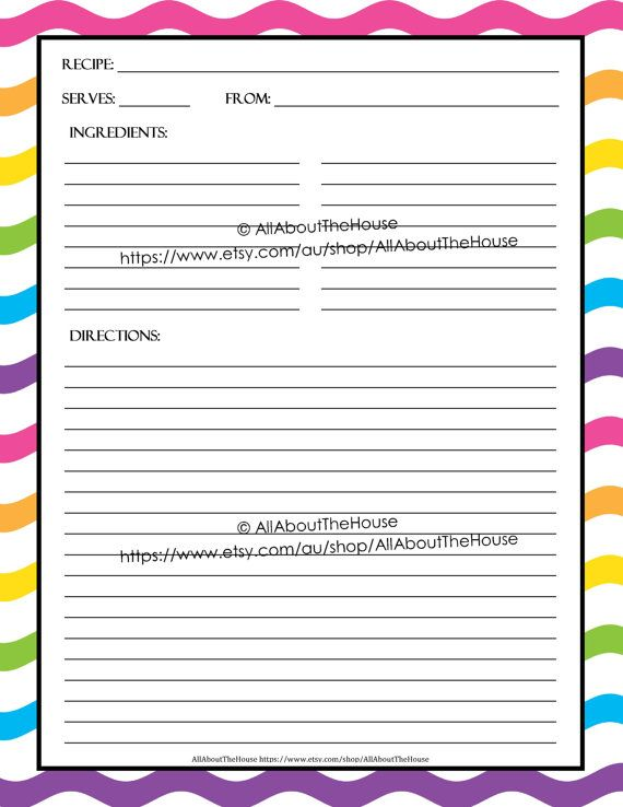 EDITABLE Printable recipe card, Template, pdf, sheet, recipe page ...