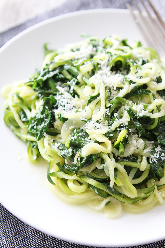 Spinach Parmesan Zucchini Noodles   Two Peas & Their Pod