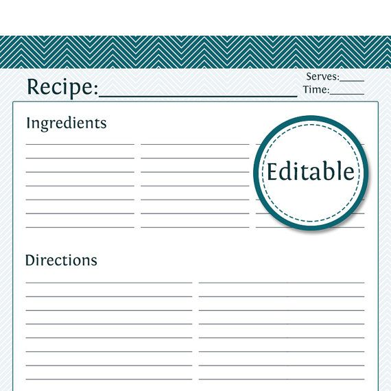 Recipe Card, Full Page - Fillable - Printable PDF - Instant ...