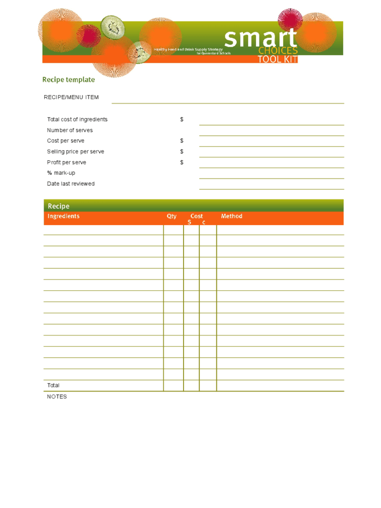 Recipe Template - 4 Free Templates in PDF, Word, Excel Download