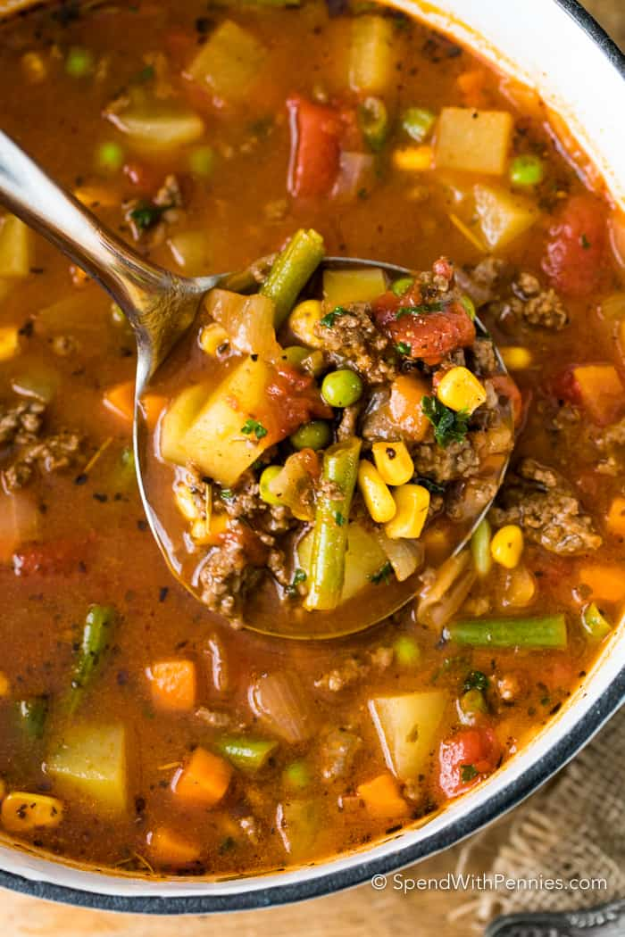 Easy Hamburger Soup - Spend With Pennies