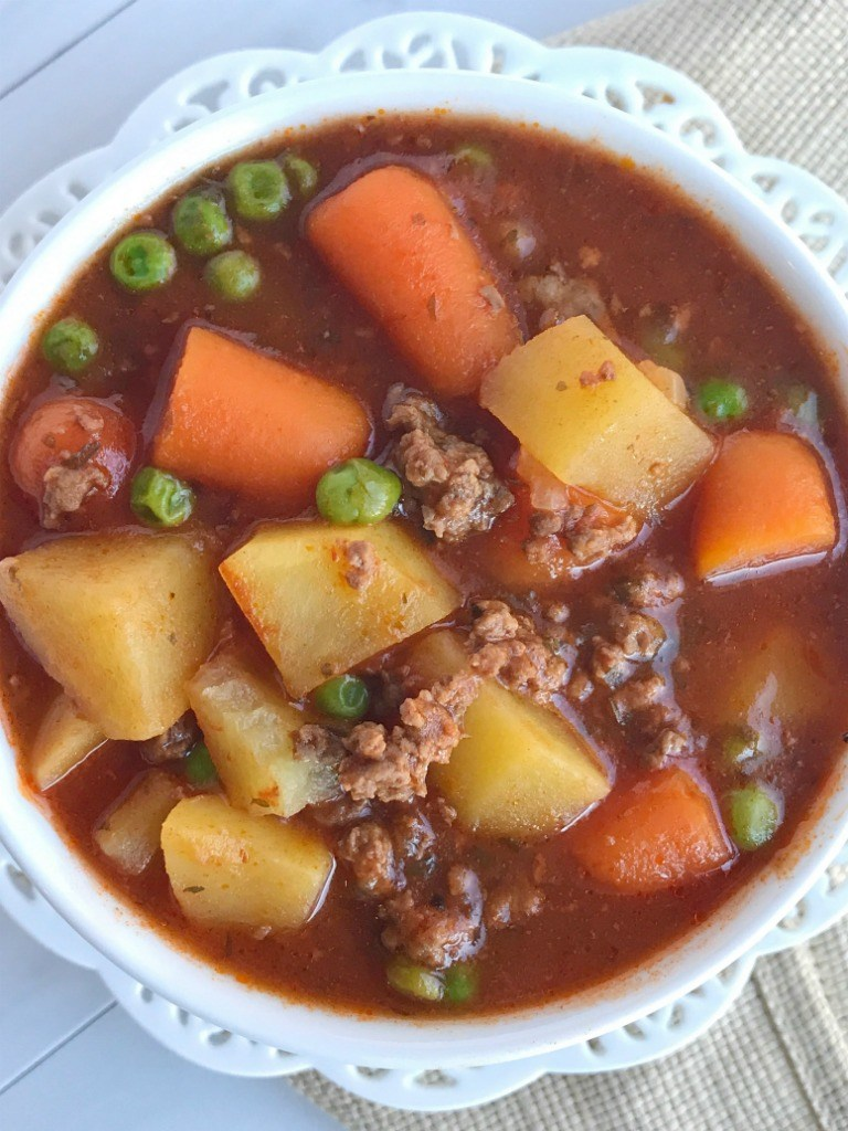 Slow Cooker Hearty Ground Beef Stew - Together as Family