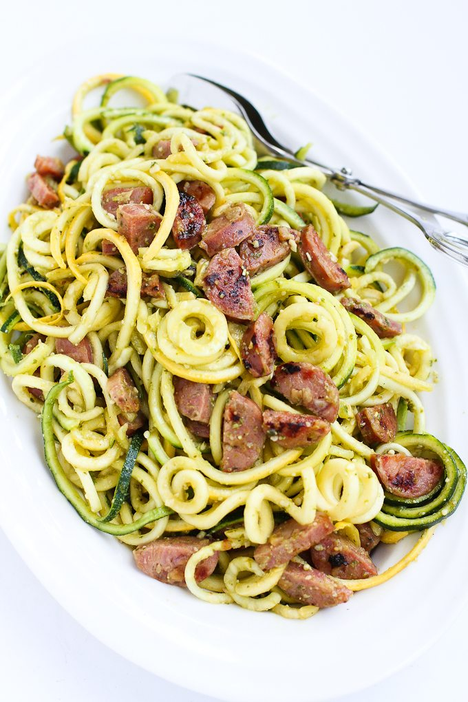 Pesto Zucchini Noodles Recipe with Chicken Sausage - Cookin Canuck