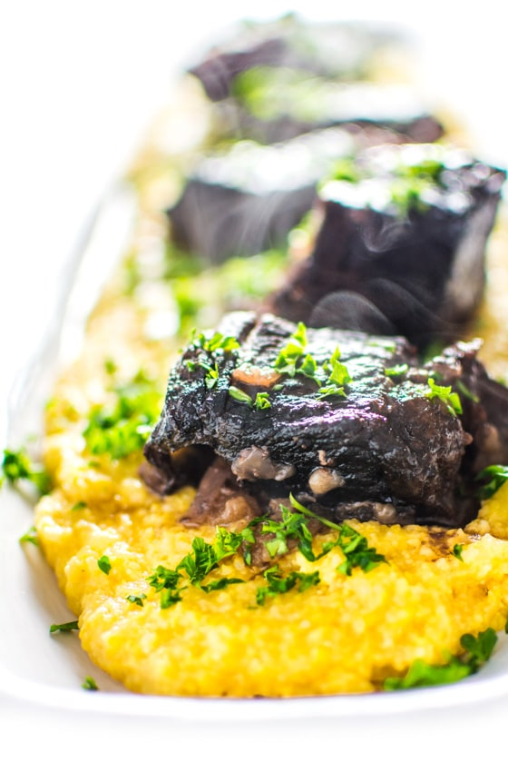 Red Wine Braised Short Ribs with Polenta and Root Vegetables ...