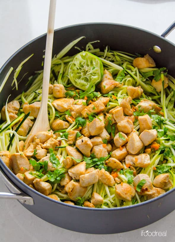 Zucchini Noodles with Chicken, Cilantro and Lime - iFOODreal ...