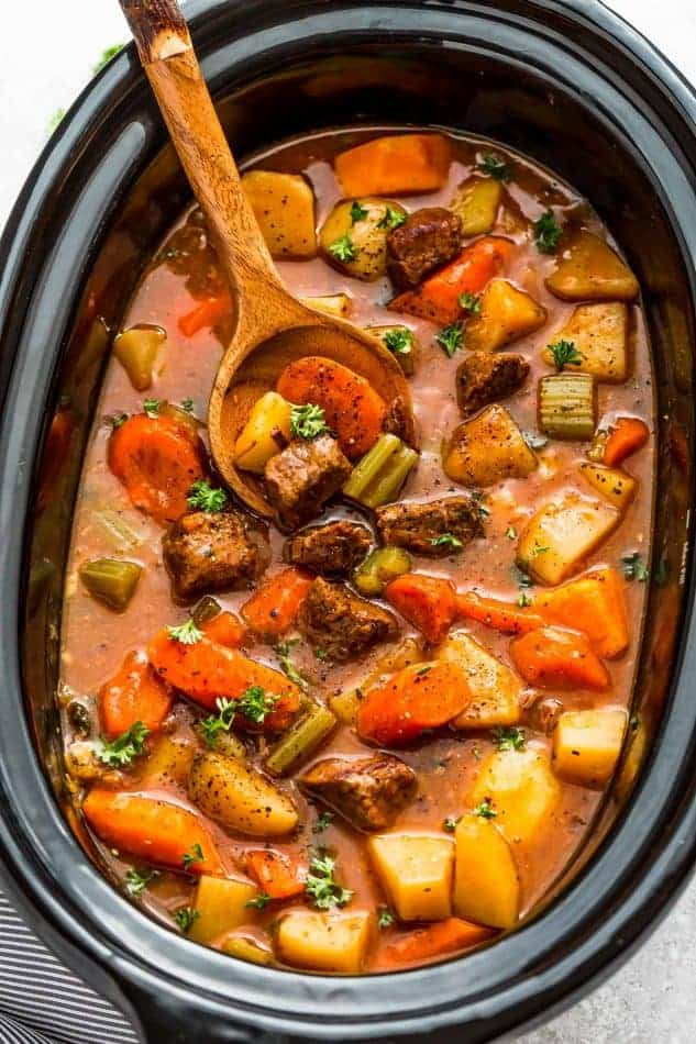 Easy Old Fashioned Beef Stew Recipe Made in the Slow Cooker