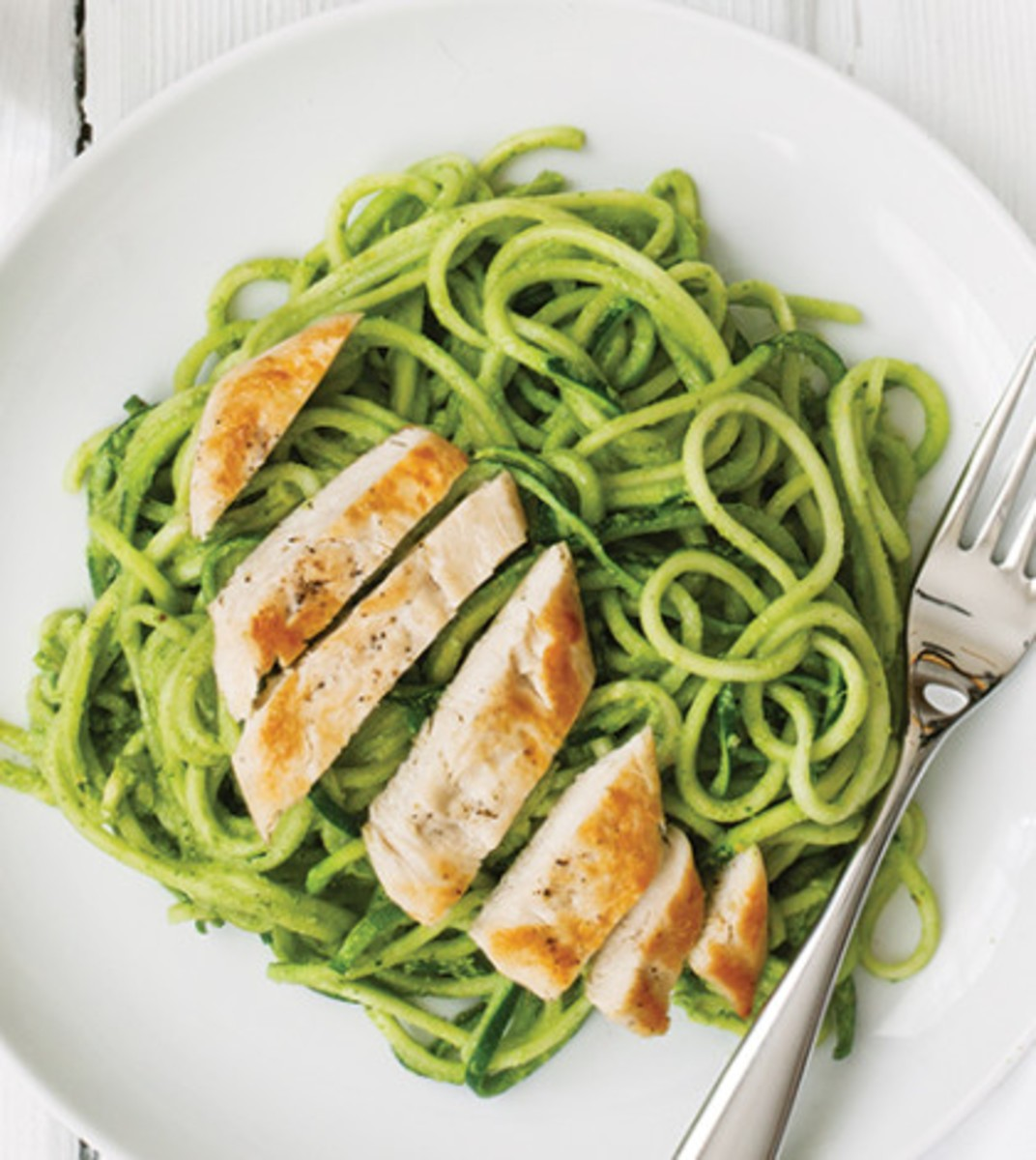 Zoodles with Cilantro Pesto & Grilled Chicken Recipe - Clean ...