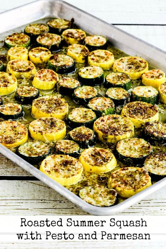 Roasted Summer Squash with Pesto and Parmesan - Kalyn