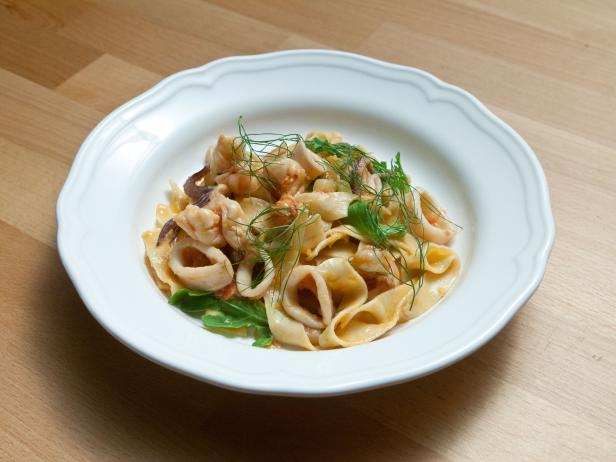 Tagliatelle with Shrimp and Squid Recipe | Anne Burrell | Food Network