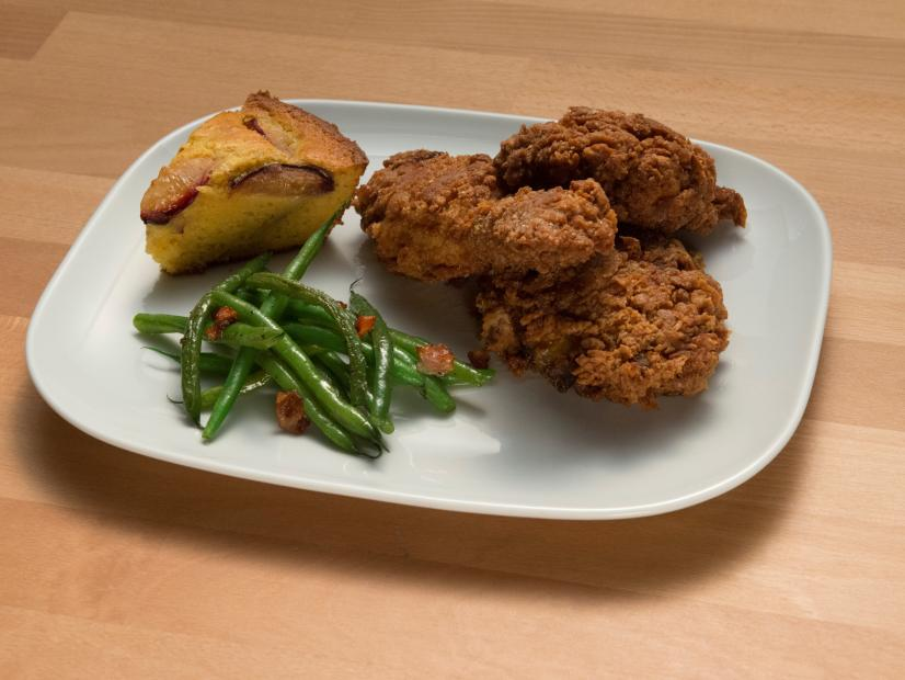 Fried Chicken with Plum Cornbread and Bacon Green Beans Recipe ...
