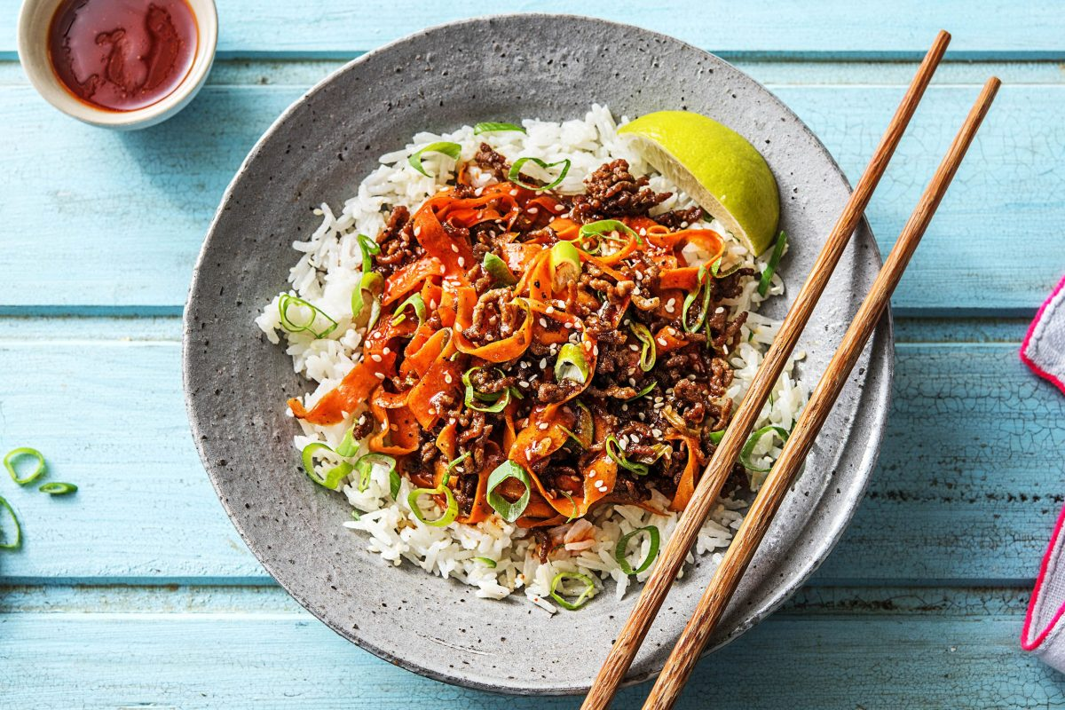 Sesame Sriracha Beef Stir-Fry with Carrot Ribbons and Jasmine Rice ...