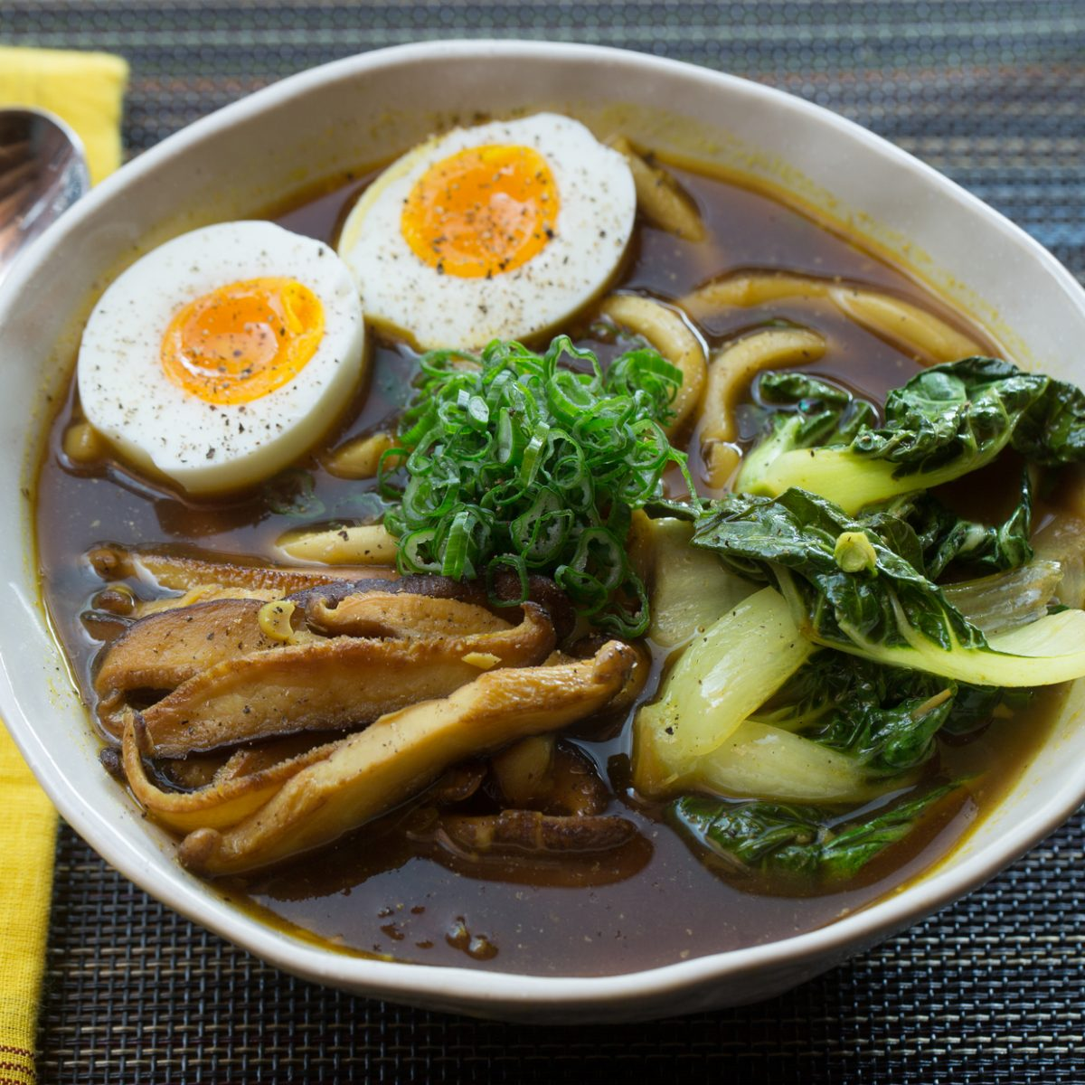 Recipe: Udon Noodle & Tatsoi Soup with Japanese Curry Broth & Soft ...