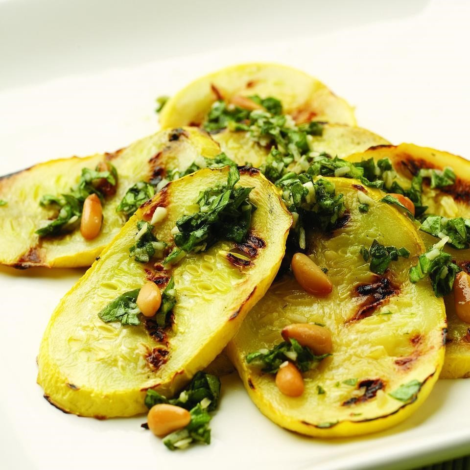 Pesto-Topped Grilled Summer Squash Recipe - EatingWell