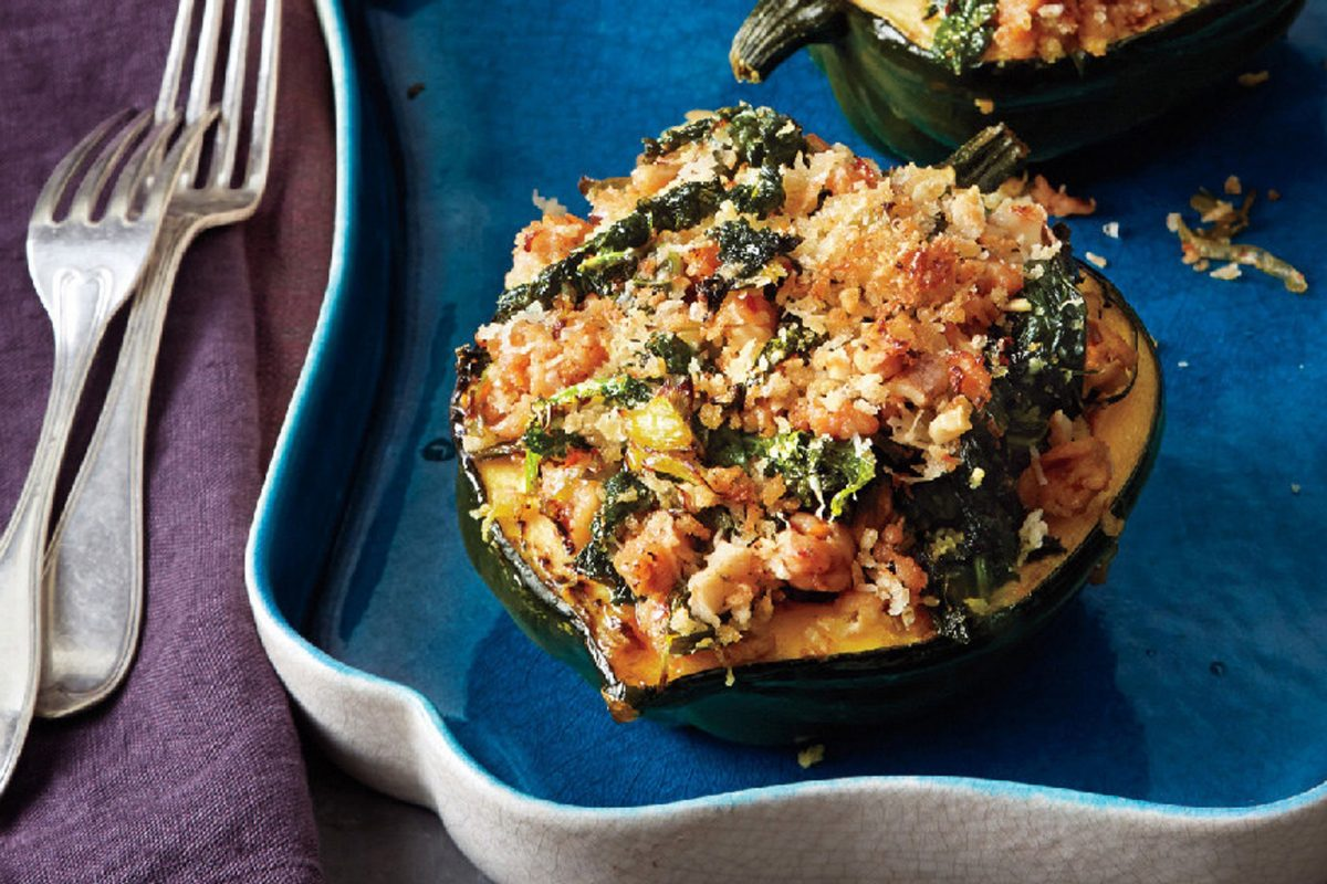 Acorn Squash with Kale and Sausage recipe | Epicurious