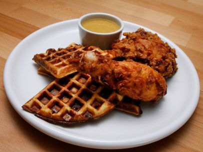 Cheddar Scallion Waffles and Dijon Buttermilk Fried Chicken ...