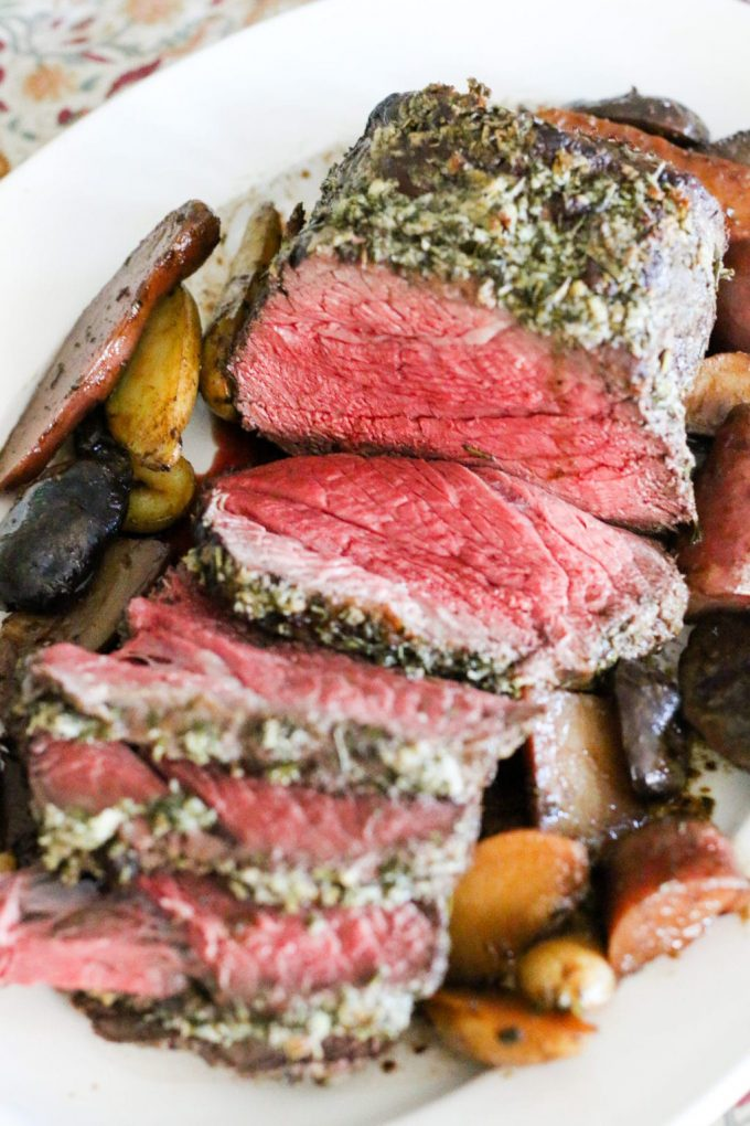 Rosemary Garlic Beef Top Round Roast with Roasted Potatoes