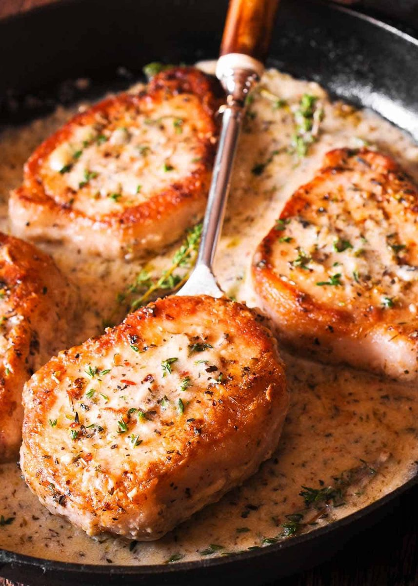 Smothered Pork Chops in Creamy Wine Sauce - What