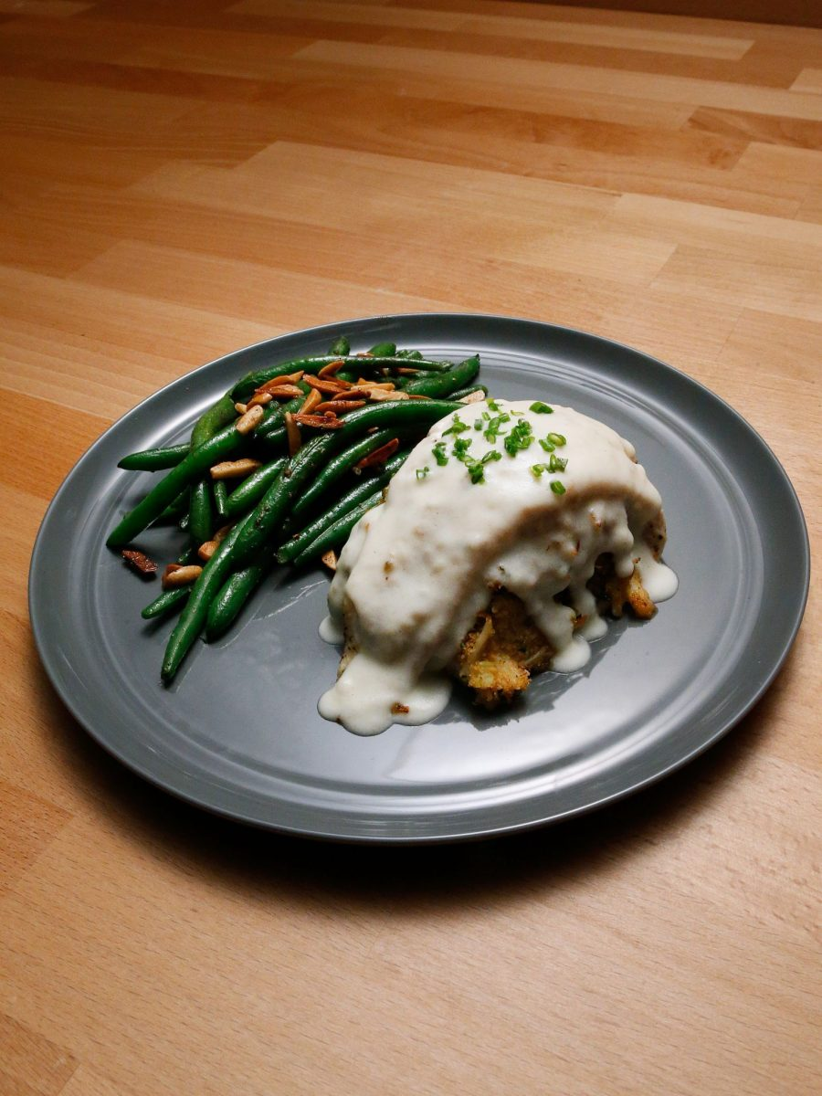 Crab-Stuffed Flounder with Mornay Sauce and Green Beans Almondine ...