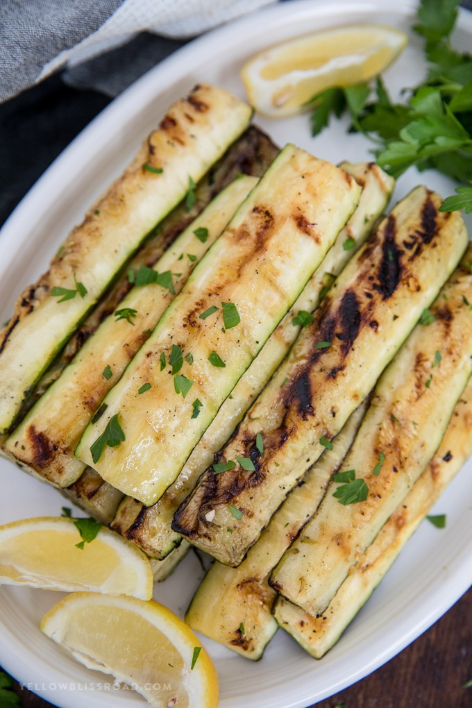 Grilled Zucchini Recipe with Lemon and Olive Oil | yellowblissroad