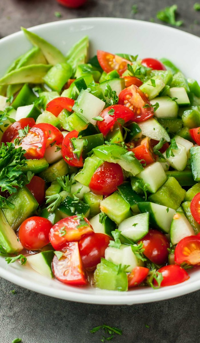 Healthy Tomato Cucumber Salad Recipe - Peas and Crayons