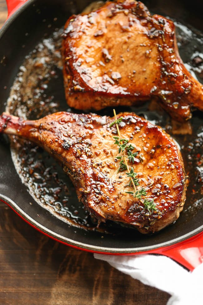 Easy Pork Chops with Sweet and Sour Glaze - Damn Delicious