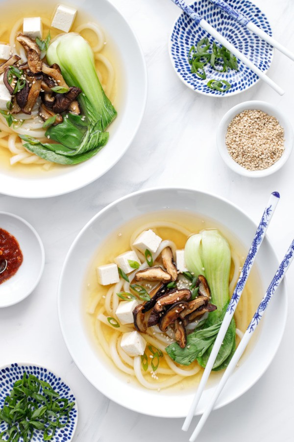 Ginger Miso Udon Noodle Soup with Roasted Mushrooms | Love and ...