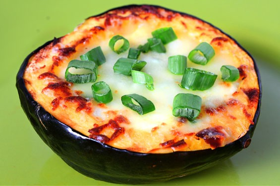Roasted Corn Pudding In Acorn Squash Recipe | Gimme Some Oven