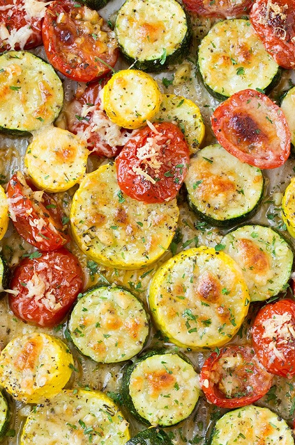 Roasted Garlic-Parmesan Zucchini, Squash and Tomatoes - Cooking Classy