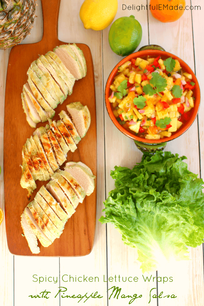 Spicy Chicken Lettuce Wraps with Pineapple Mango Salsa ...