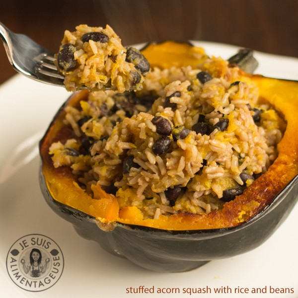 Rice and Beans Stuffed Acorn Squash - The Viet Vegan