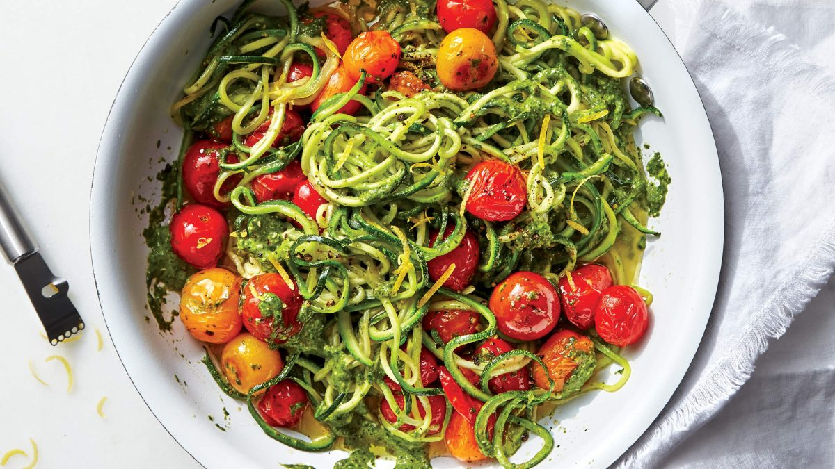Zoodles With Tomatoes and Spinach-Caper Pesto Recipe - Health