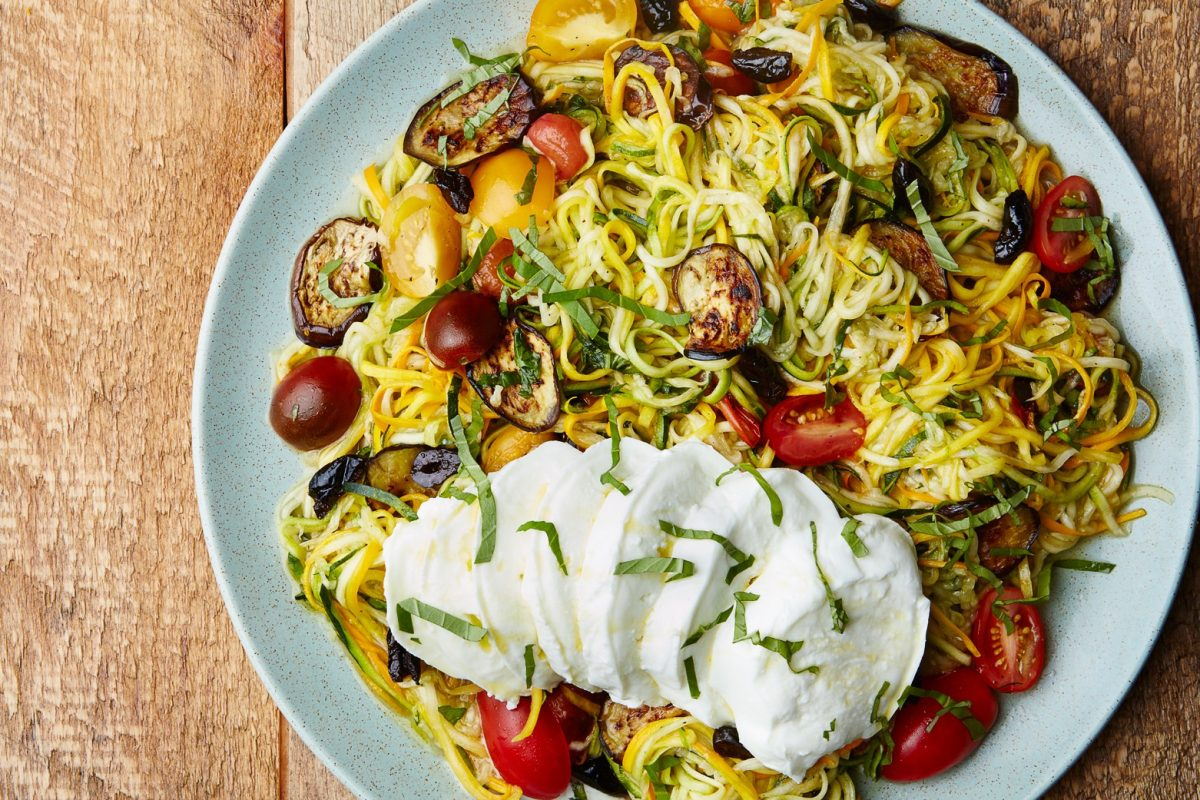 """Zucchini """"Noodles"""" with Eggplant and Tomatoes recipe 