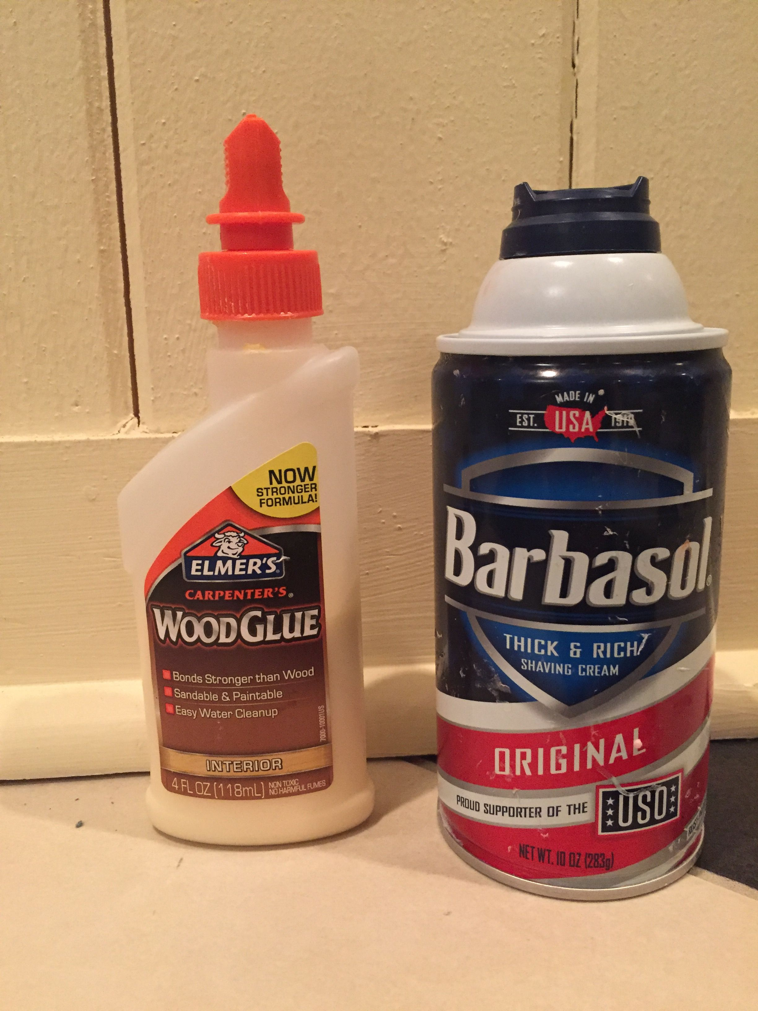 Shaving gel works better). First, poor your wood glue into the ...