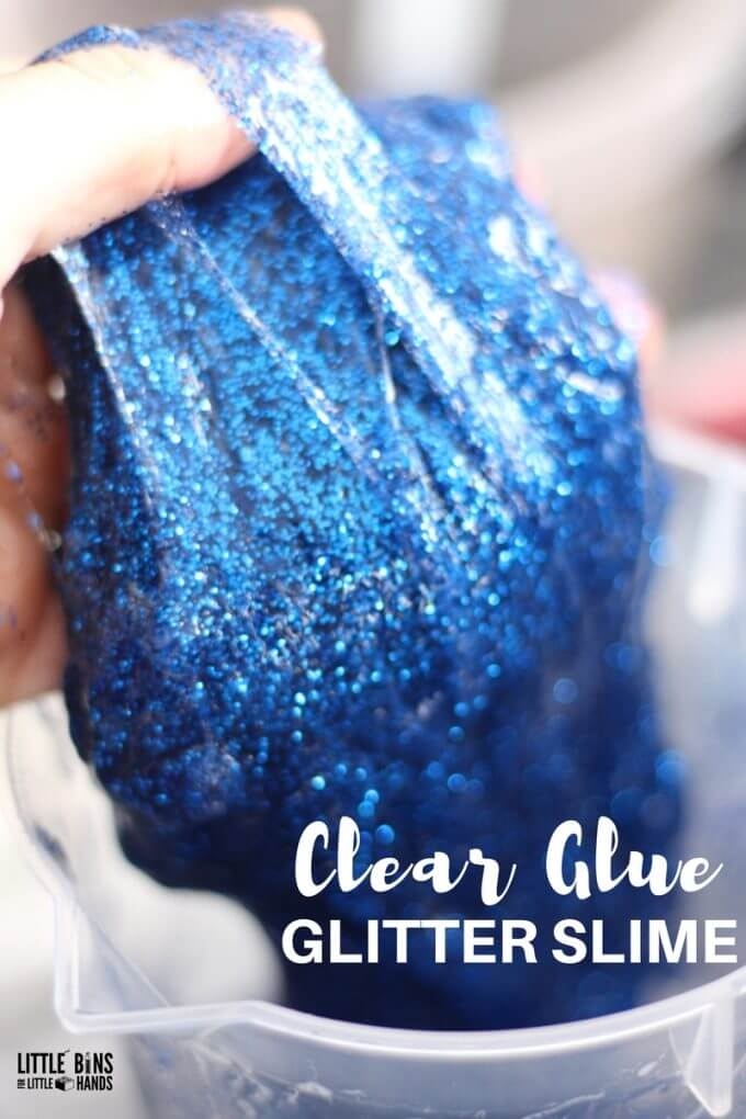 How to Make Clear Glue Glitter Slime for Cool Kids Science Activity
