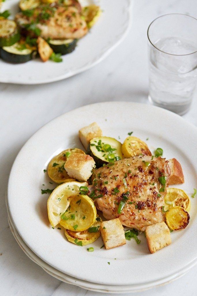 Giadzy Roasted Chicken Thighs with Summer Squash
