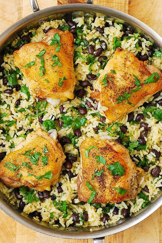One-Pan Chicken Thighs with Cilantro-Lime Black Bean Rice ...