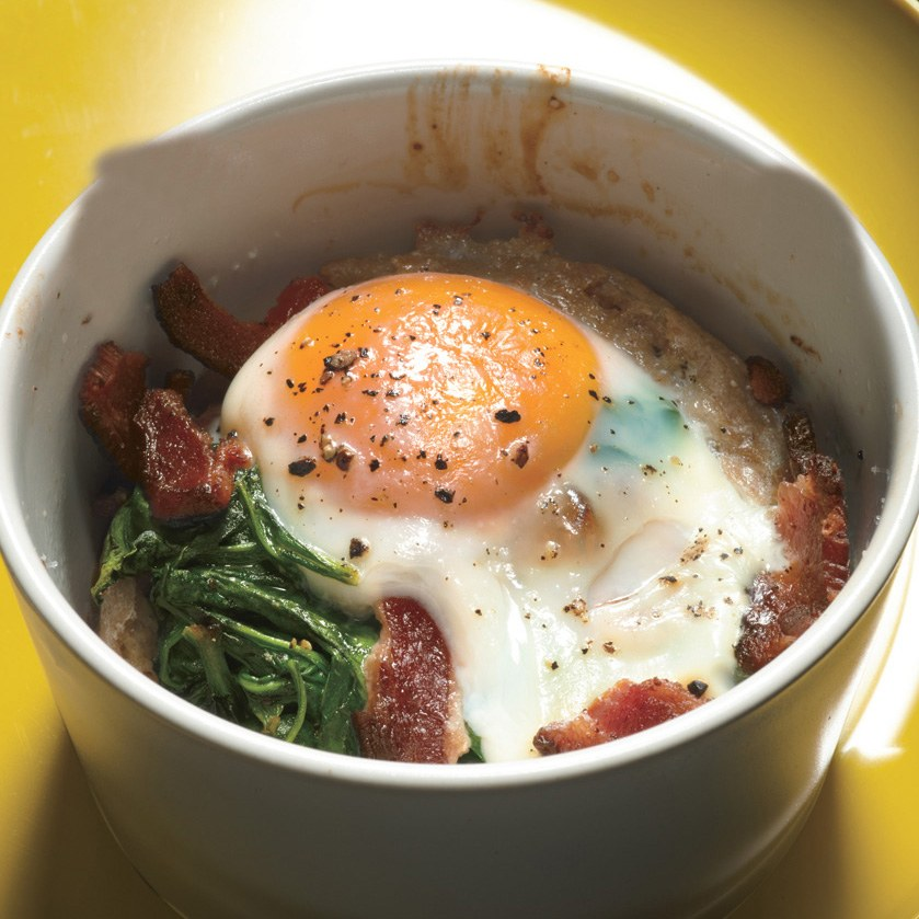 Baked Eggs with Bacon and Spinach recipe | Epicurious