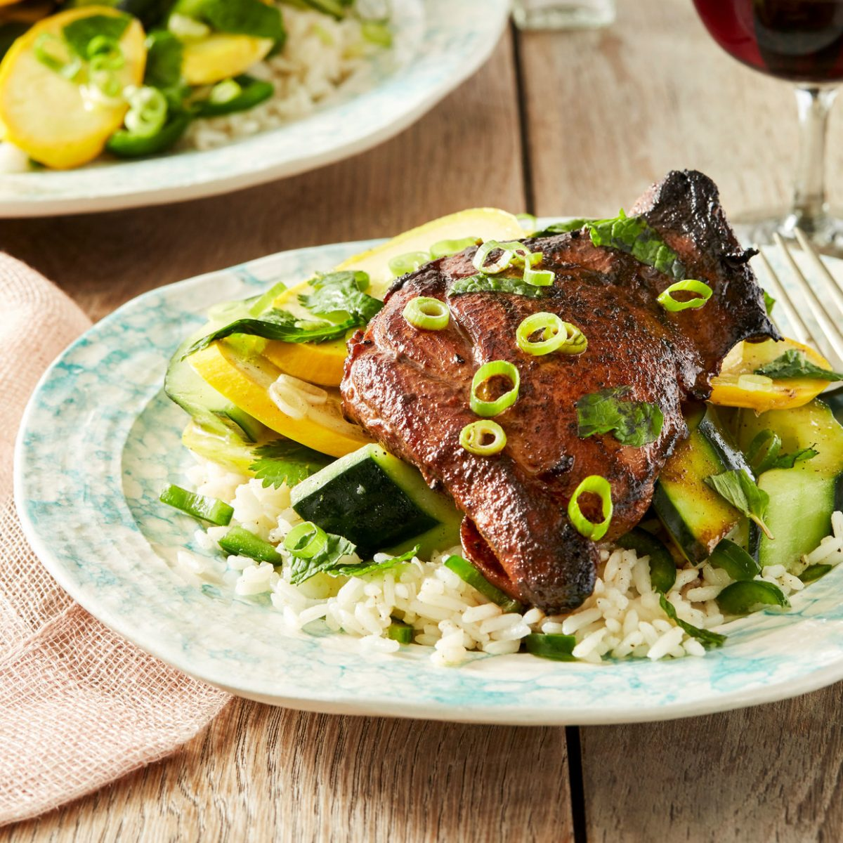 Recipe: Soy-Marinated Chicken Thighs with Jalapeño Rice & Summer ...