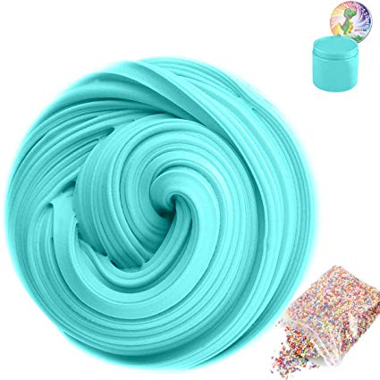 Amazon: SLOUEASY Ocean Blue Fluffy Slime with Foam Beads, Non ...