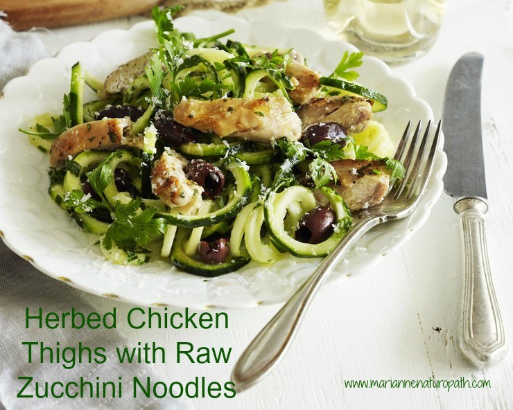 Herbed Chicken Thighs on Raw Zucchini Noodles (SIBO, paleo, g/f)