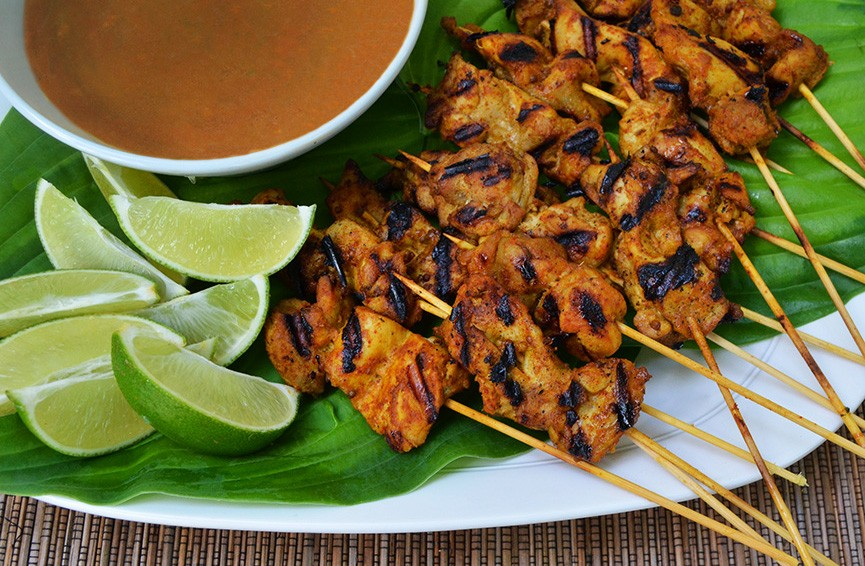 Chicken Satay with Peanut Sauce -Andrew Zimmern