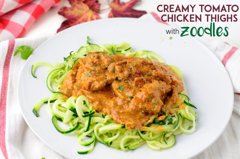 Creamy tomato chicken thighs with zoodles - My Zucchini Recipes