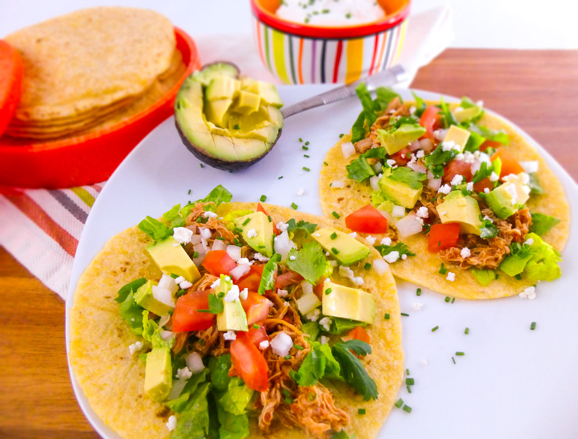 Easy Crock Pot Shredded Chicken Tacos   Whole Made Living