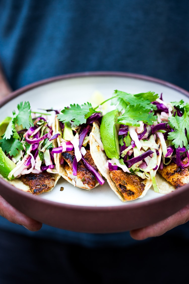 Grilled Fish Tacos with Cilantro Lime Cabbage Slaw | Feasting At Home