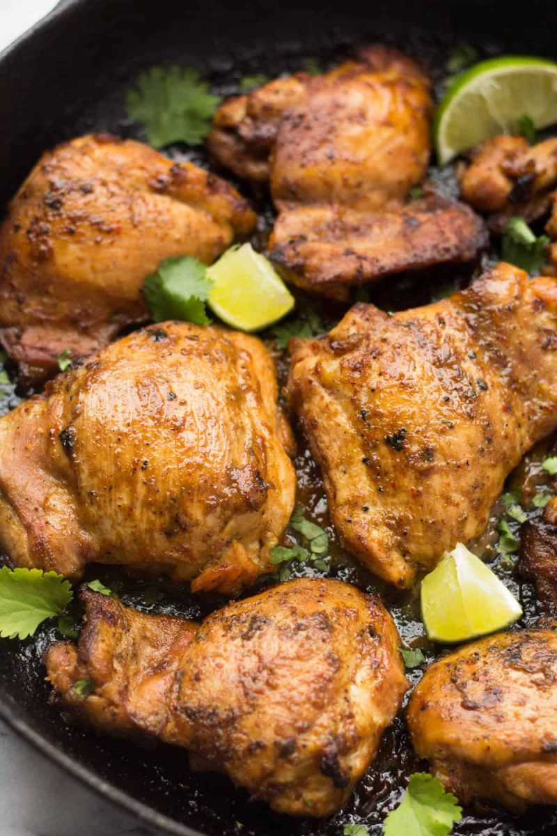 Cast Iron Ginger Lime Chicken Thighs - Eat the Gains