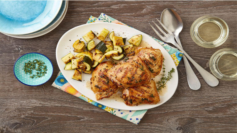 Herb Marinated Grilled Chicken Thighs with Summer Squash | Draper ...