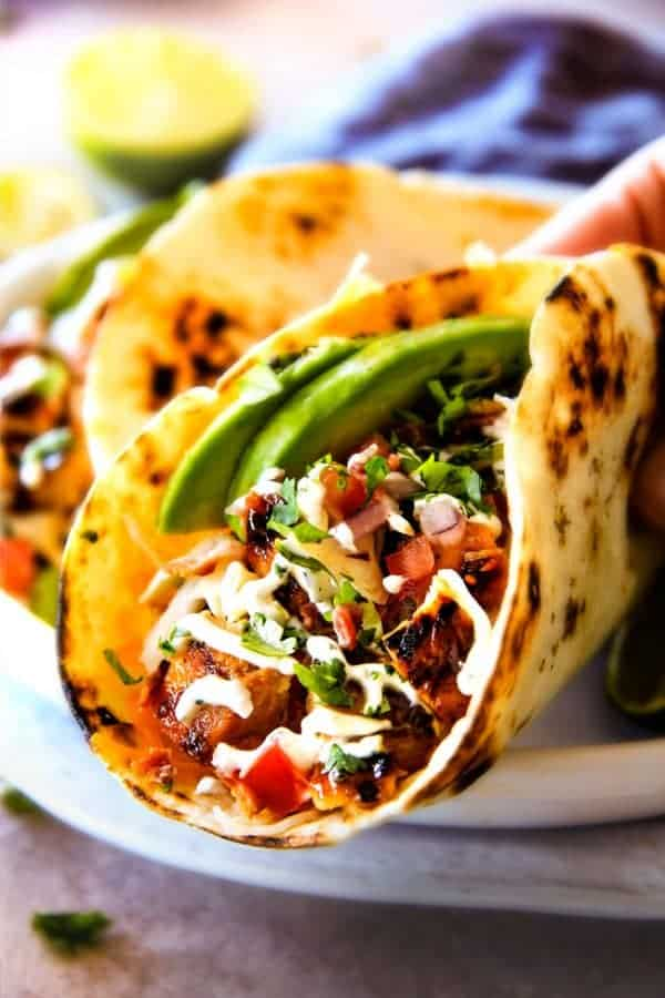 Honey Chipotle Chicken Tacos with BLT Slaw (& Video!)