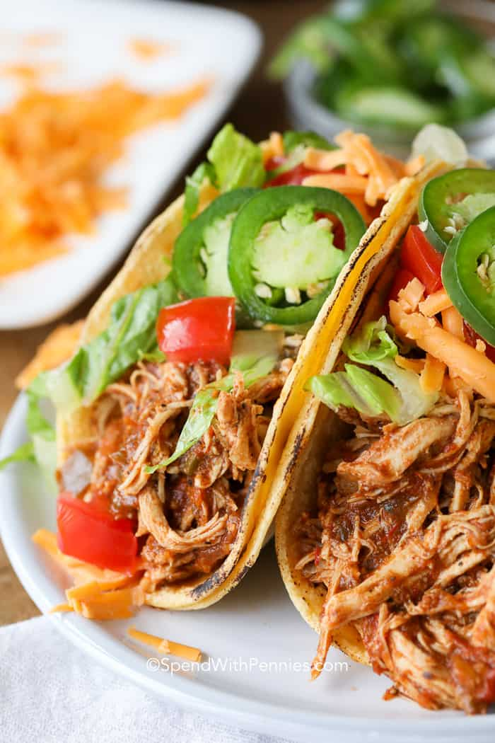Instant Pot Chicken Tacos (Pressure Cooker) - Spend With Pennies