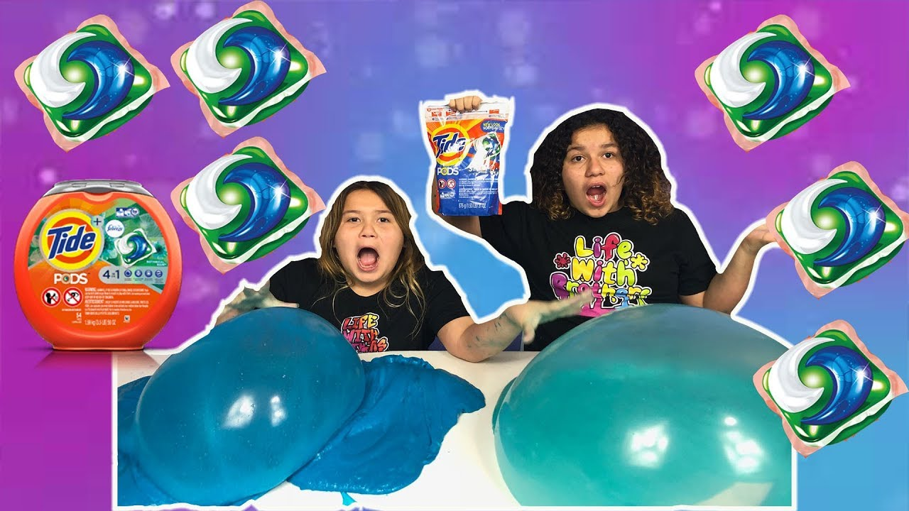 TIDE POD SLIME CHALLENGE - MAKING FLUFFY SLIME WITH TIDE PODS ...