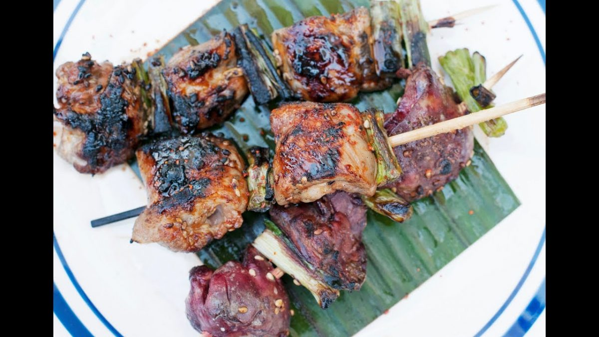 Andrew Zimmern Cooks: Chicken Thighs & Livers with Yakitori Sauce ...